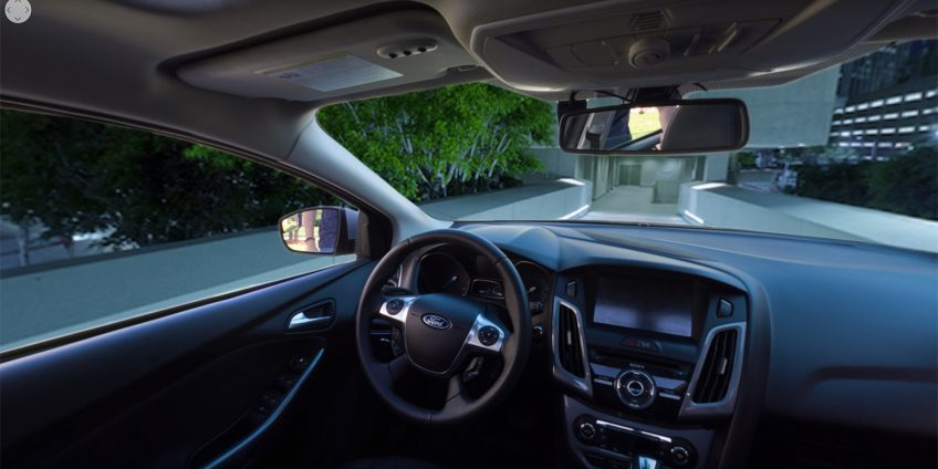 Inside of car with changing backgrounds